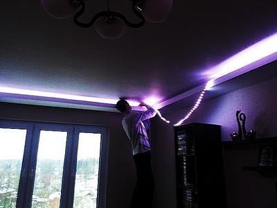 подсветка лед лентой в помещении - установка