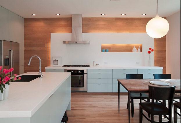 фото точечные светильники в интерьере кухни