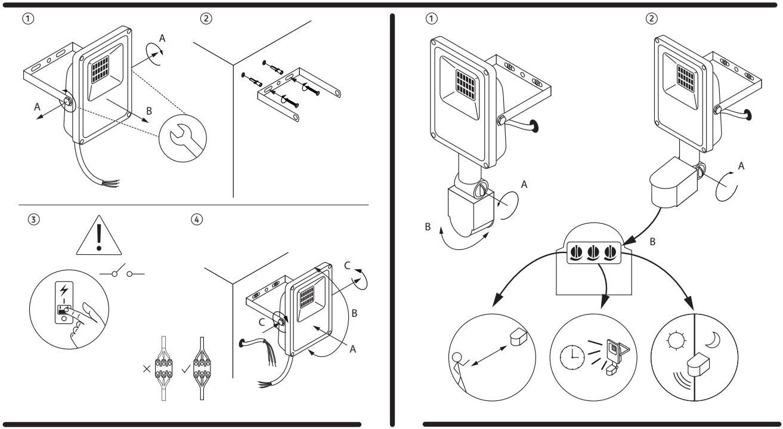 рисунок до інструкції з підключення та налаштування прожектора, датчика руху і датчика освітленості