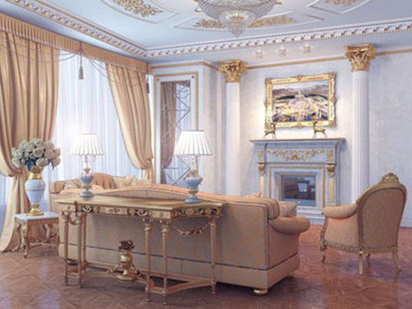 Приміщення, виконане в палацовому стилі із застосуванням світлих і холодних тонів