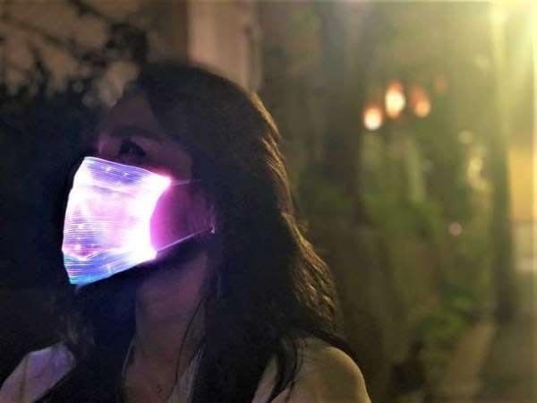 маска для лица с подсветкой, современные маски с LED подсветкой, модные защитные маски
