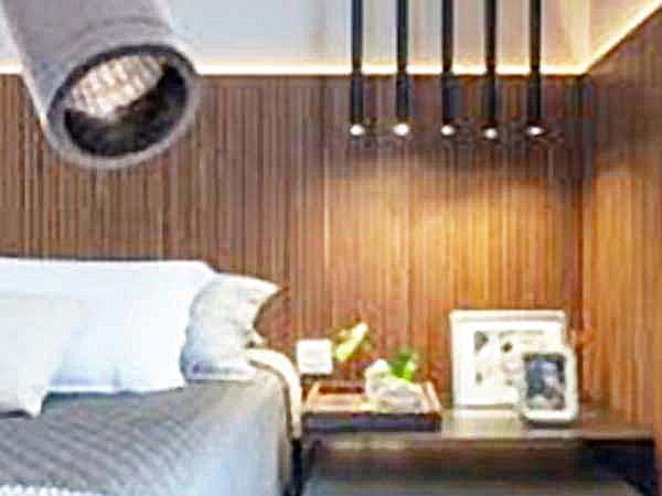 циліндричний світильник тубус в інтер'єрі спальні, світильник труба для спальні