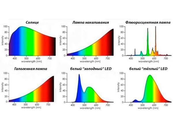 сравнение спектров разных лампочек, как отличаются спектры лампочек
