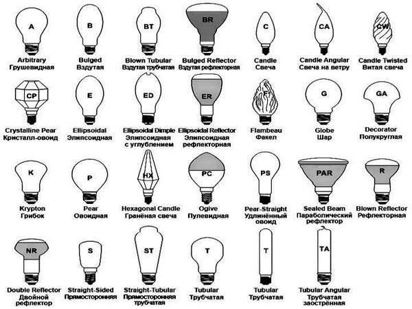 Основные виды лампочек по форме