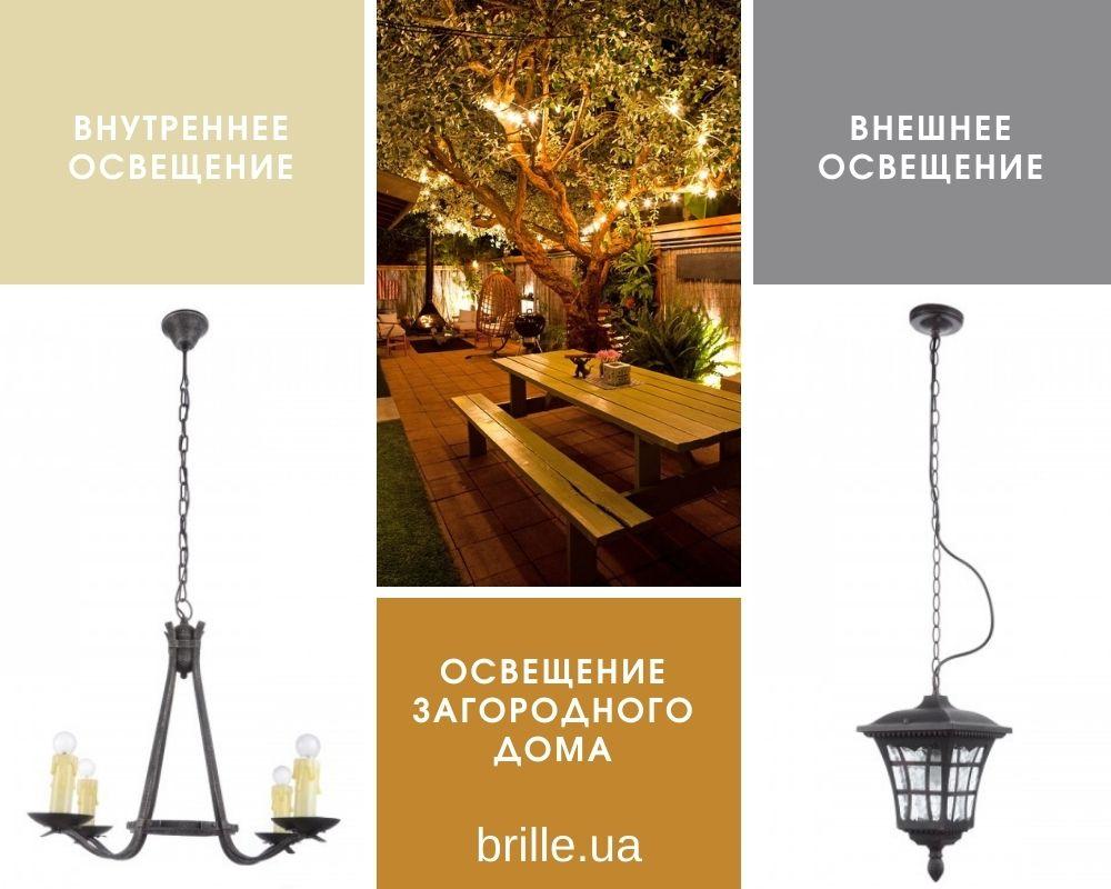 Освещение загородного дома, светильники для внутреннего и уличного освещения коттеджей