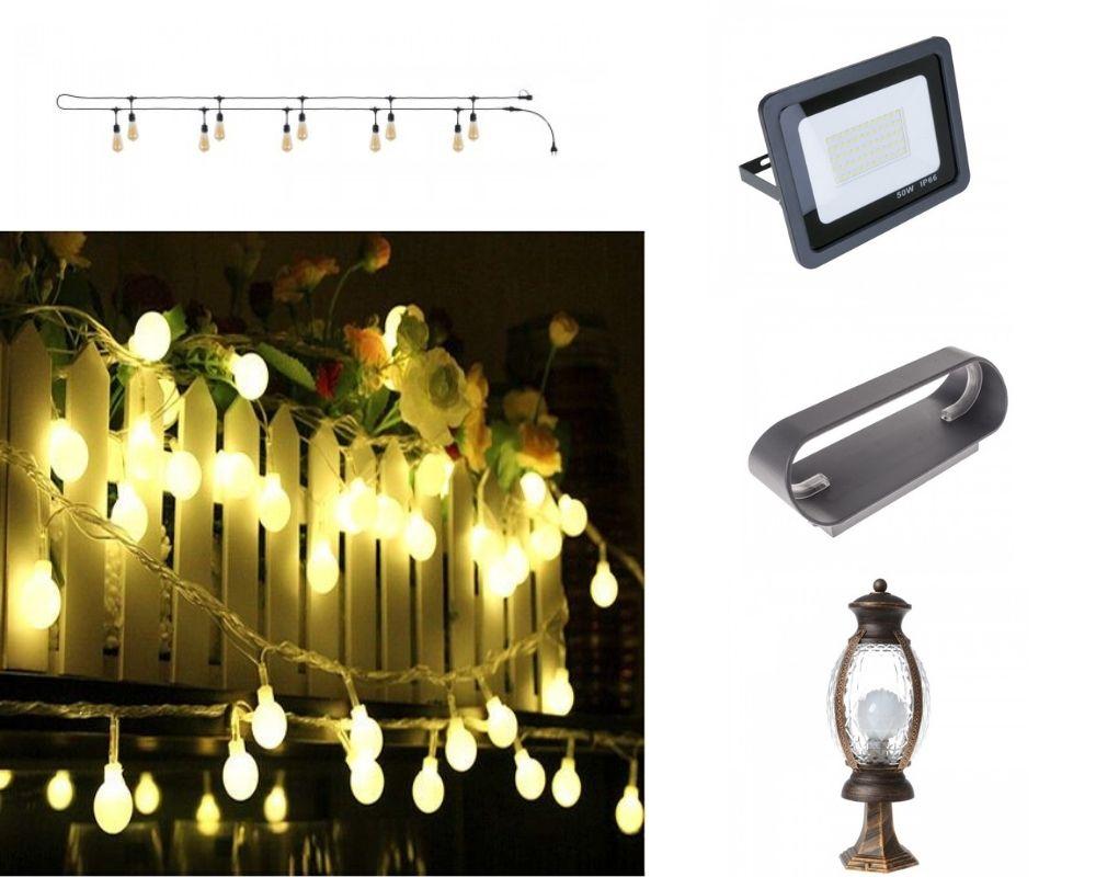 Вуличне підсвічування котеджу, вуличні світильники для дачі, зовнішнє освітлення заміського будинку